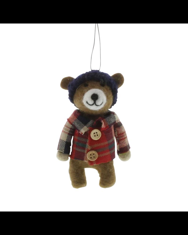 HomArt Felt Lumberjack Bear Ornament