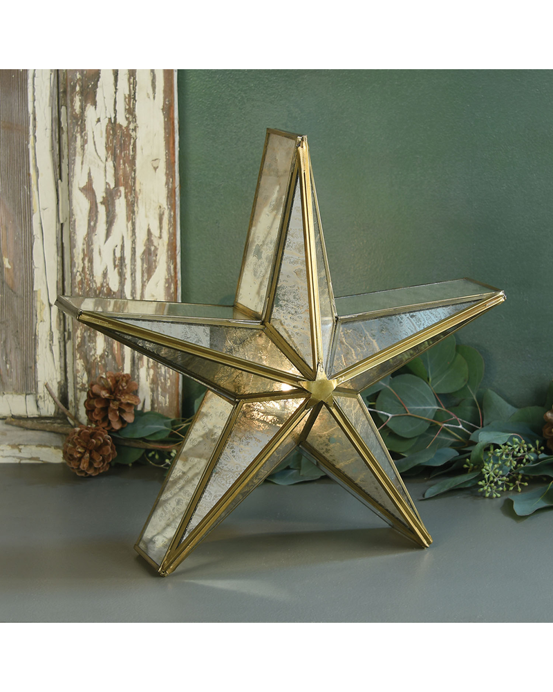 HomArt Glass Star Candle Holder, Mirrored - Med