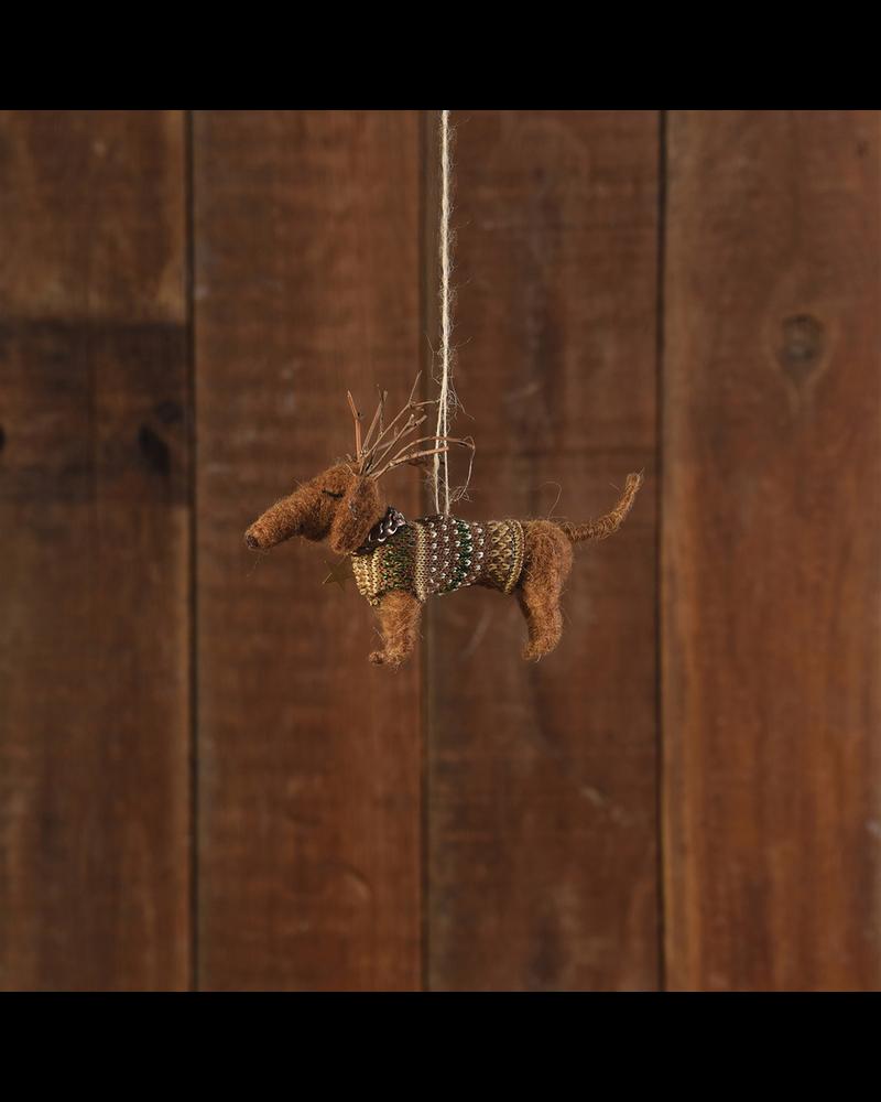 HomArt Felt Reindog Daschund with Antlers Ornament
