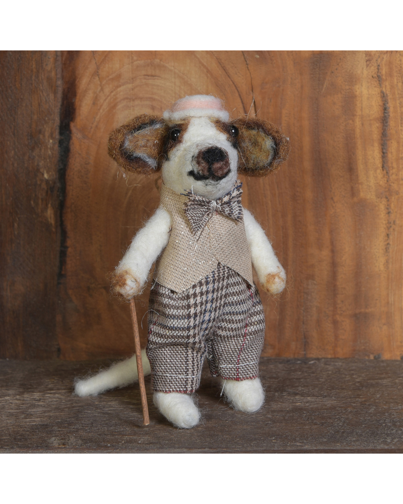 HomArt Boy Dog Ornament, Felt - Brown & White