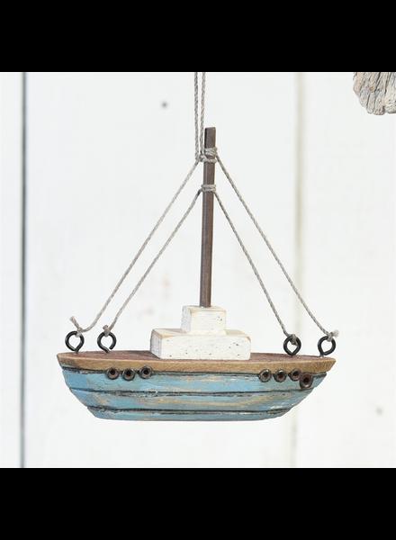 HomArt Tiny Wood Boat Ornament, Light Blue - Light Blue