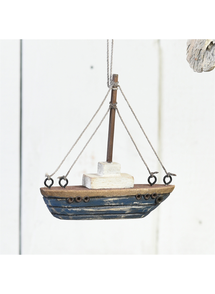 HomArt Tiny Wood Boat Ornament, Dark Blue - Dark Blue