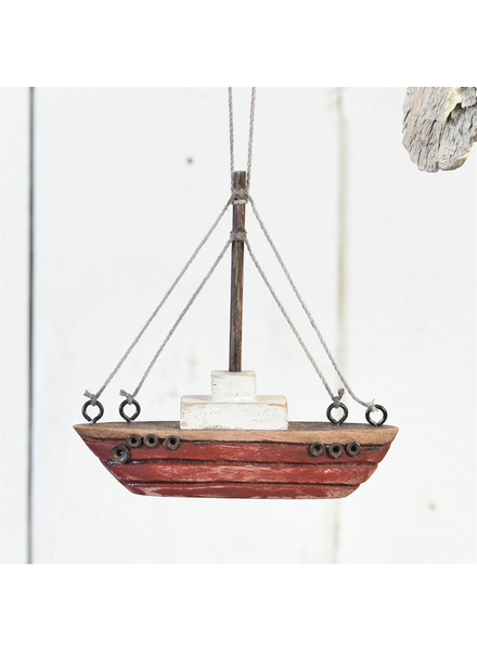 HomArt Tiny Wood Boat Ornament, Red - Red