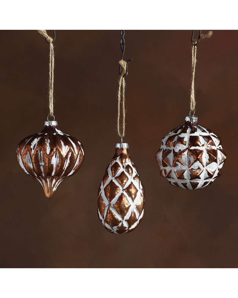 HomArt Genevieve Glass Ornaments - Set of 3, Assorted - Copper with White