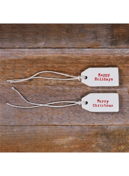 HomArt Merry Christmas Ceramic Tag - Set of 4