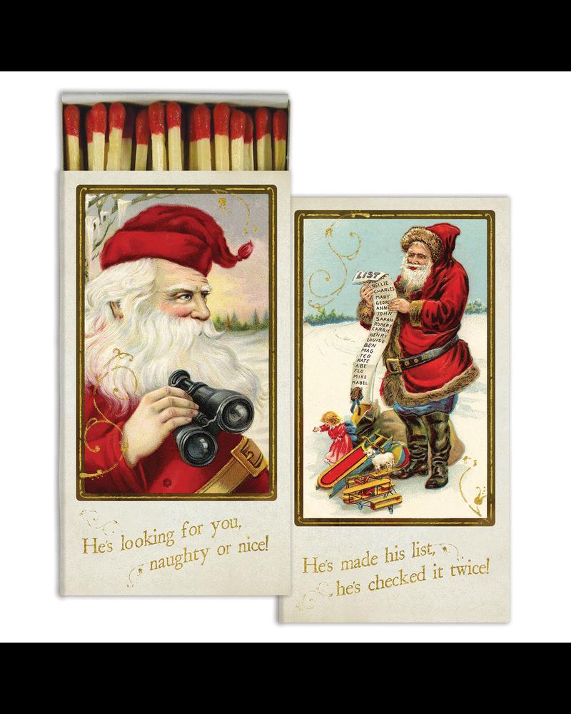 HomArt Matches - Santa's Watching - Gold Foil - Set of 3