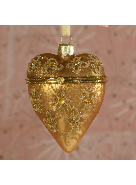 HomArt Bejeweled Heart Locket Ornament, Glass - Gold - Gold