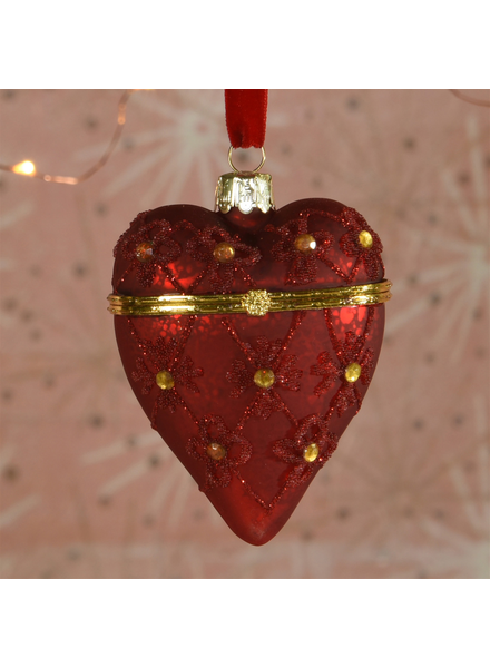 HomArt Bejeweled Heart Locket Ornament, Glass - Red - Red
