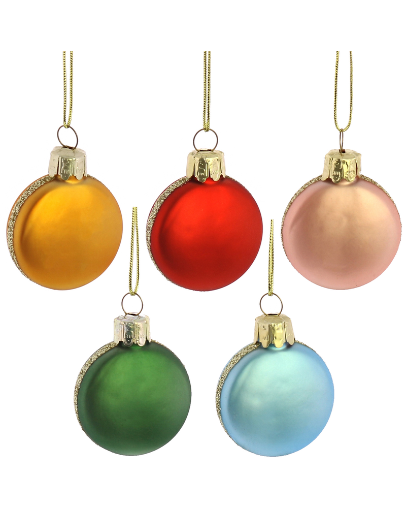HomArt Macaroon Ornaments, Glass - Set of 5, Assorted - Gold,  Red, Blue, Green, Pink
