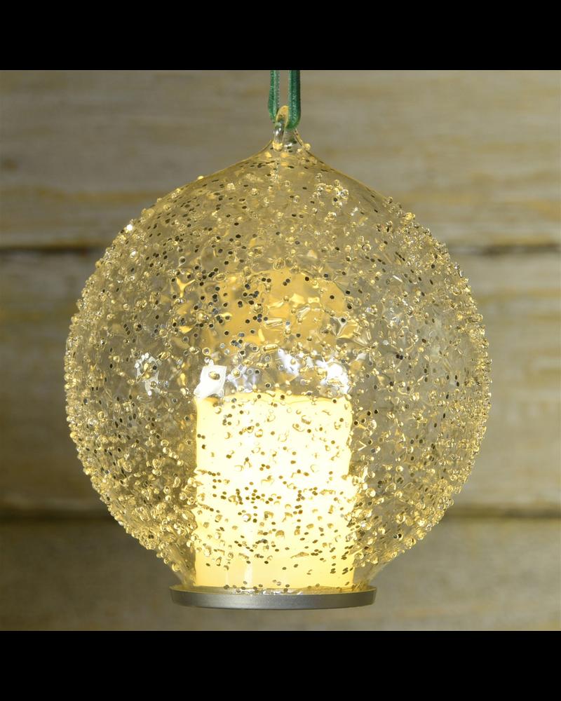 HomArt Illuminated LED Candle Ornament, Glass - Clear