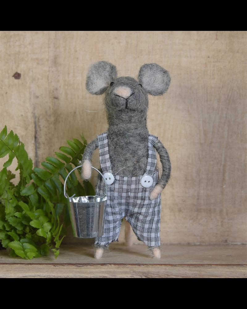 HomArt Boy Mouse Ornament, Felt - Grey