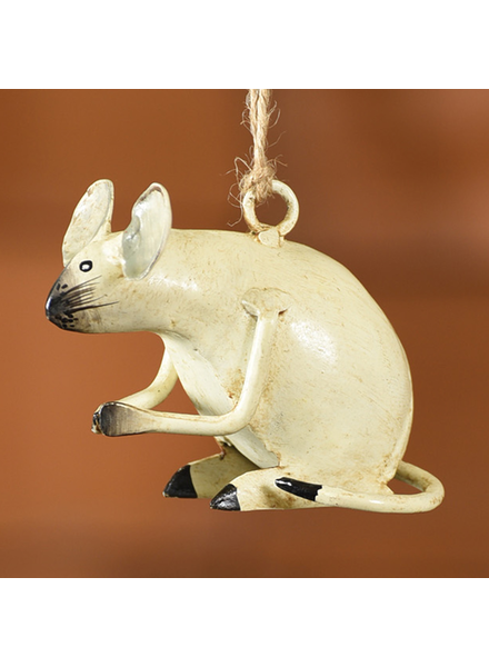 HomArt White Mouse Hand-Painted Metal Ornament - Set of 2