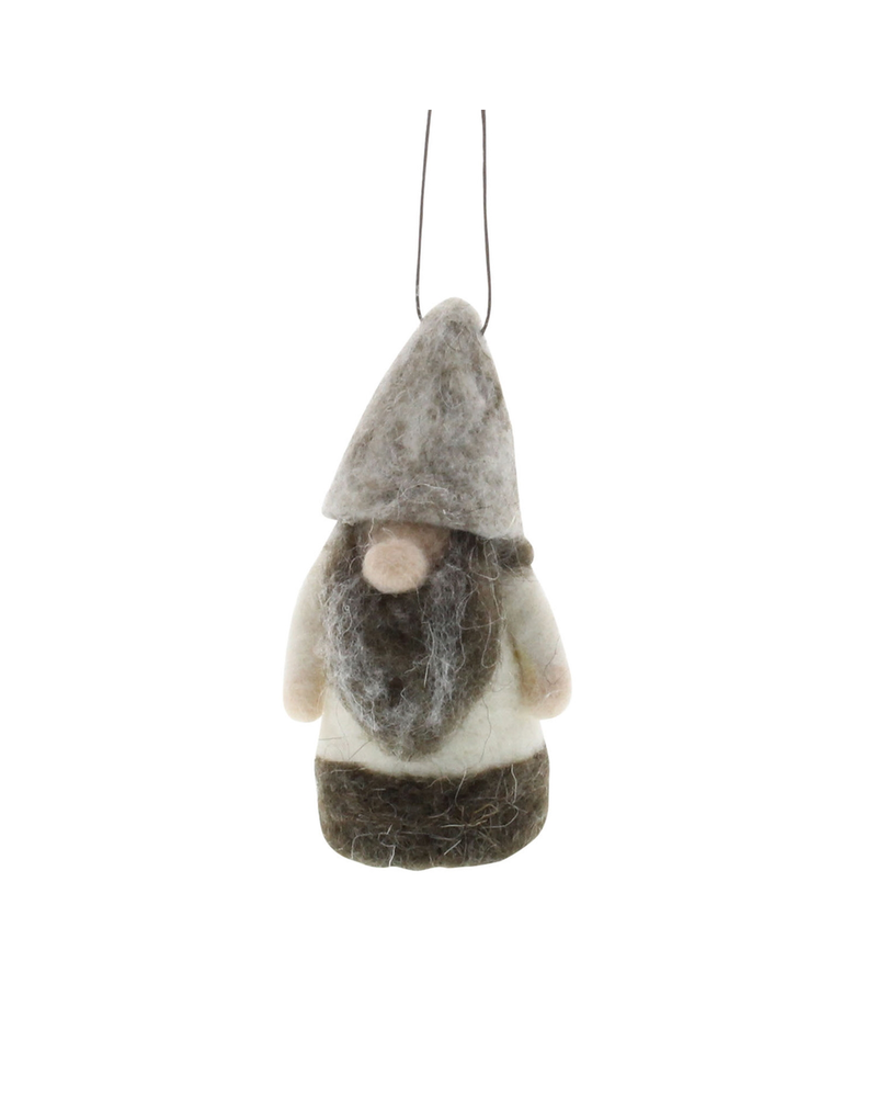 HomArt Felt Arctic Gnome Ornament - White/Grey - Set of 2