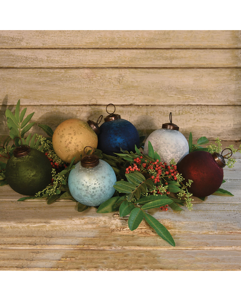 HomArt Frosted Glass Ornaments, Set of 6 Assorted Colors