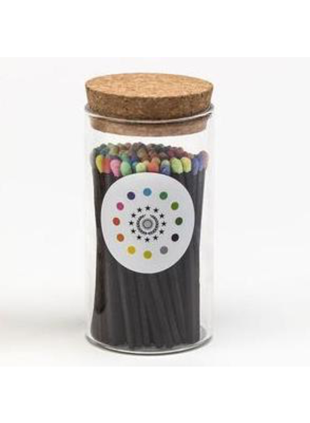 Fredericks & Mae Black + Rainbow Fireplace Matches - Small Jar