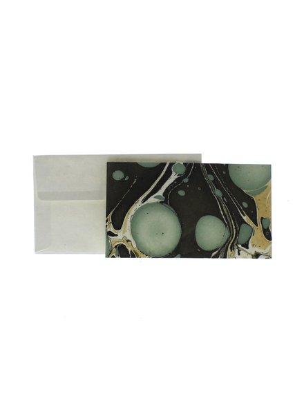 HomArt Marbleized Note Card and Envelope - Set of 10  Aqua