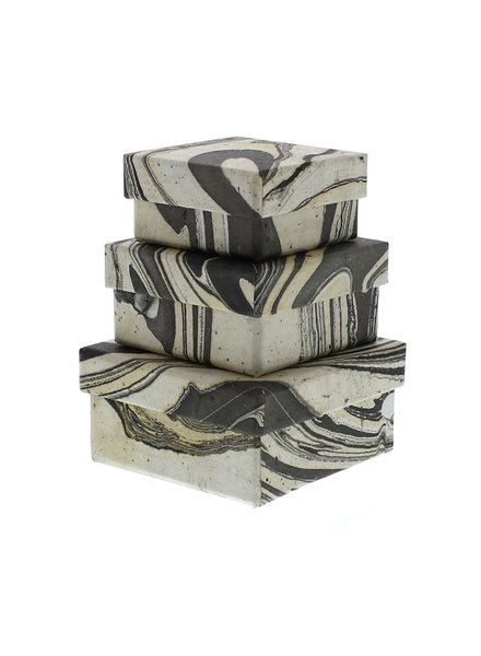 HomArt Grey Marbleized Nesting Boxes - Set of 3