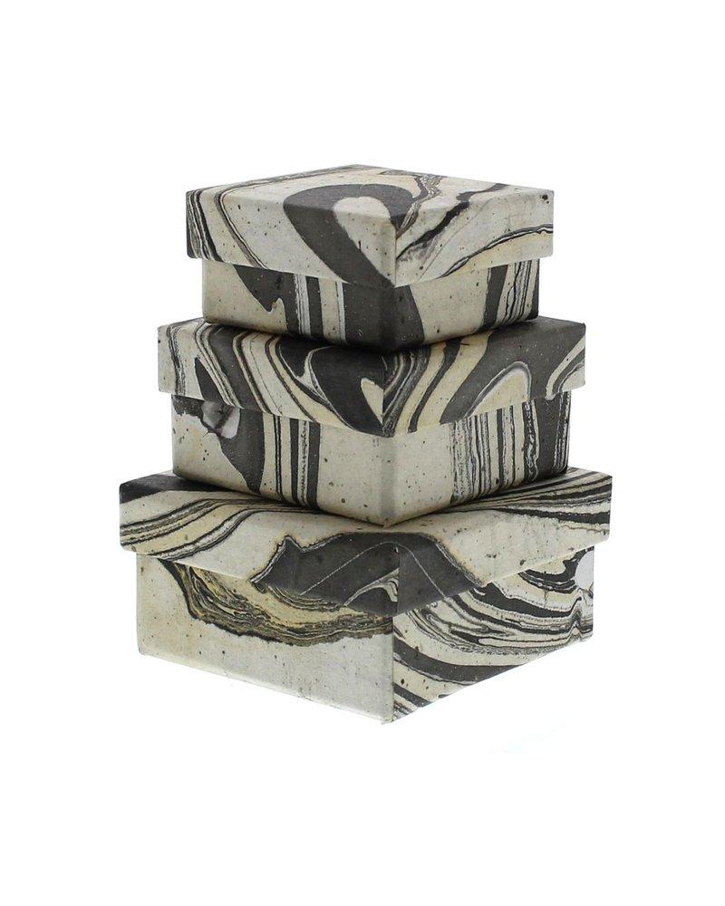 HomArt Grey Marbleized Nesting Boxes - Set of 3