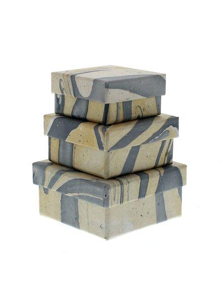 HomArt Blue Marbleized Nesting Boxes - Set of 3