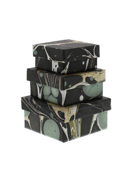 HomArt Aqua Marbleized Nesting Boxes - Set of 3