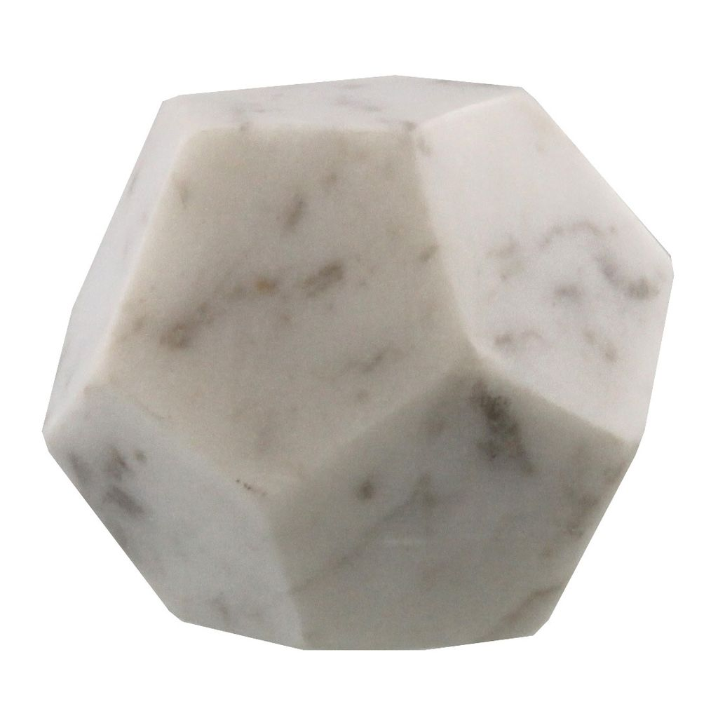 Homart White Soapstone Geometric Object Dodecahedron