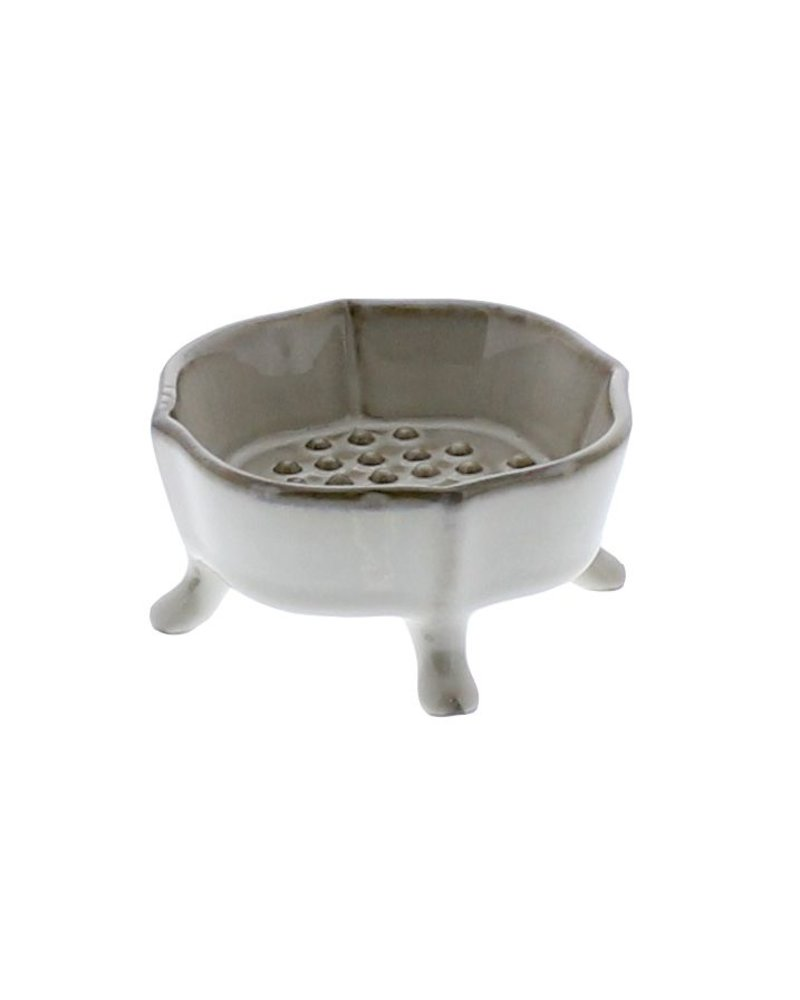 HomArt Ceramic Rue Footed Soap Dish - Fancy White