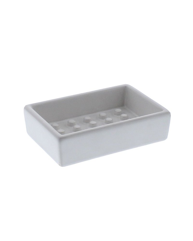 HomArt Ceramic Soap Dish - Raised Peg, Rectangle - Matte White
