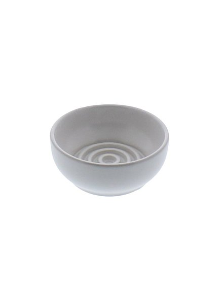 HomArt Matte White Round Ceramic Soap Dish - Raised Ring - Set of 2