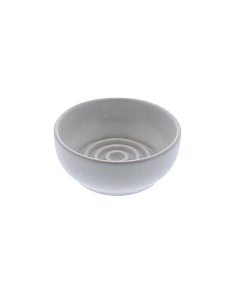 HomArt Matte White Round Ceramic Soap Dish - Raised Ring - Set of 2
