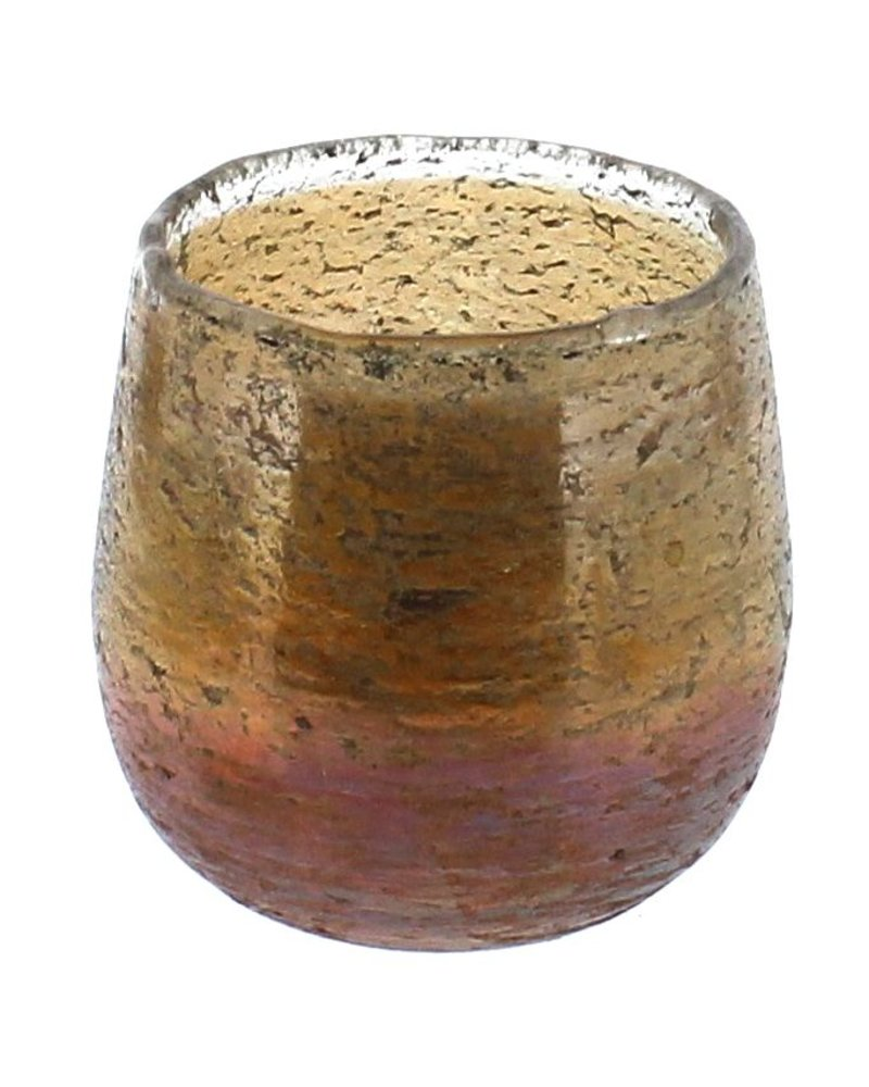 HomArt Sunrise Glass Luster Hurricane  Gold & Orange