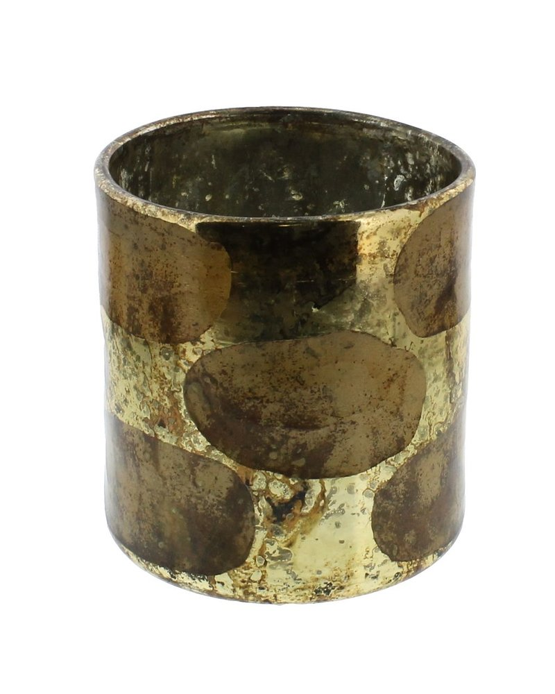 HomArt Lola Cut Goldtone Glass Vase - Lrg  Shiny Gold/Copper Oxidized