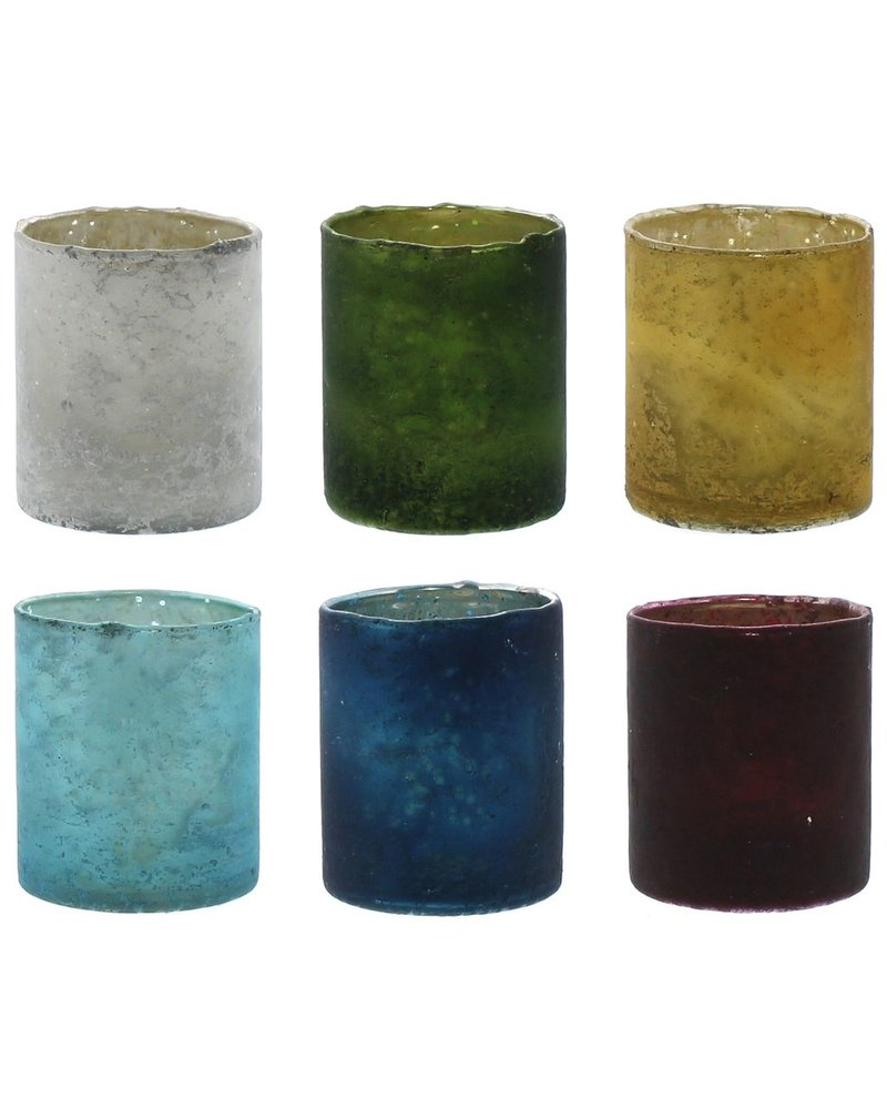 HomArt Glass Votive - Set of 6, Assorted Colors  6 colors, Assorted