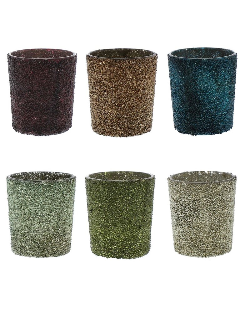 HomArt Crystalized Glass Votive - Set of 6, Assorted Colors  6 colors, Assorted