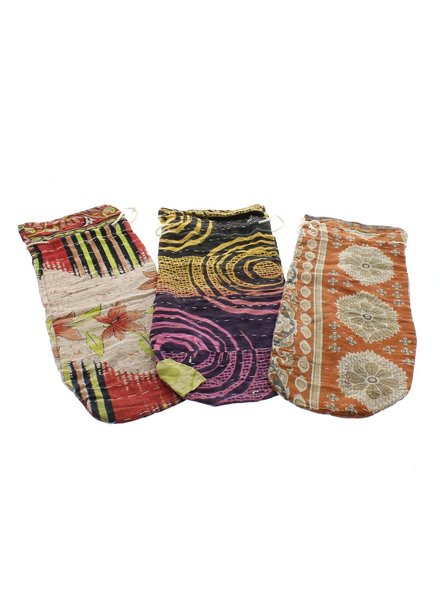 HomArt Kantha Fabric Wine Bag - Set of 2