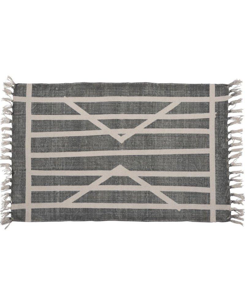 HomArt Block Print Rug Cotton Rug, 2x3  Centerpoint Stripe