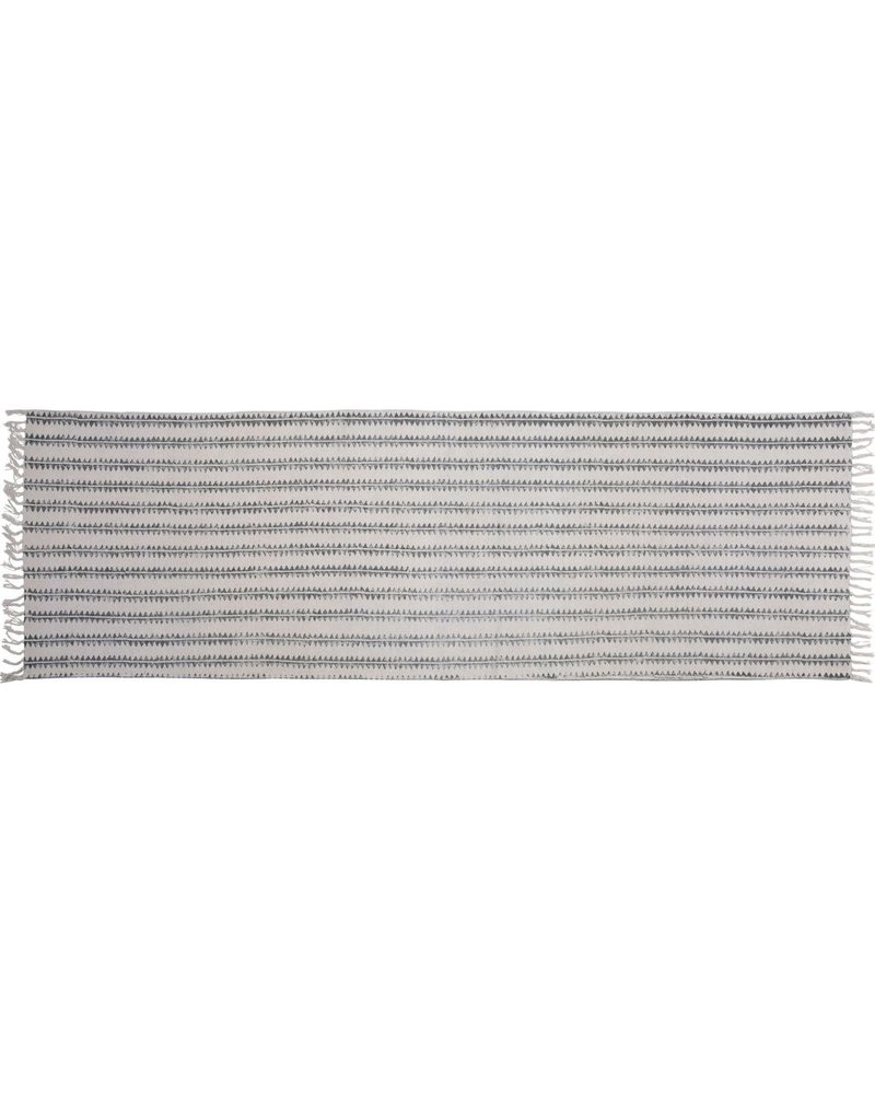 HomArt Block Print Rug Cotton Runner, 2.5x8  Sawtooth Stripe