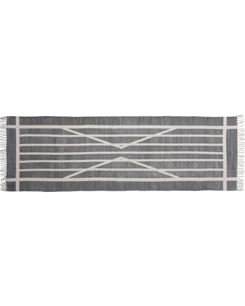 HomArt Block Print Rug Cotton Runner, 2.5x8  Centerpoint Stripe