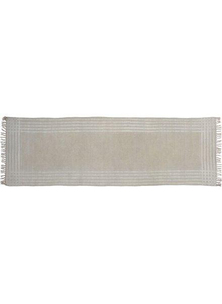 HomArt Summerset Cotton Runner, 2.5x8  Grey with White Stripes