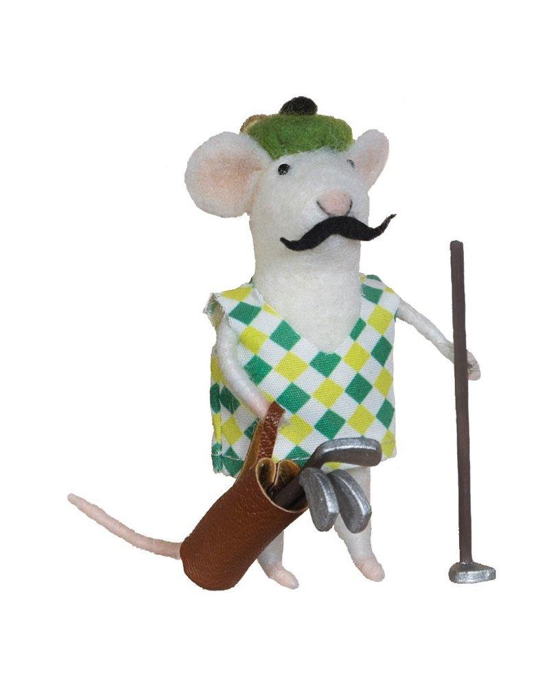 HomArt Felt Golfer Mouse Ornament