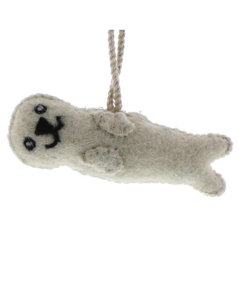 HomArt Felt Otter Ornament  White