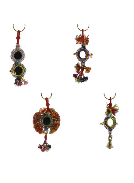 HomArt Gypsy Mirror & Thread Key Chains  Multi - Set of 2
