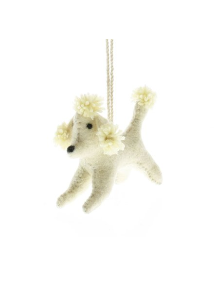 HomArt Felt Dog Ornament - White Poodle