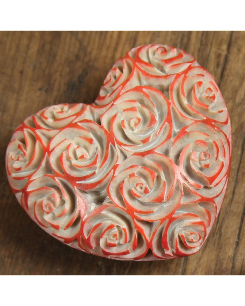 HomArt Lrg Pink Soapstone Carved Rose Heart
