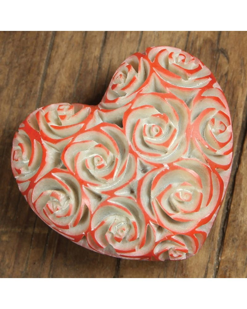 HomArt Small Pink Soapstone Carved Rose Heart - Set of 2