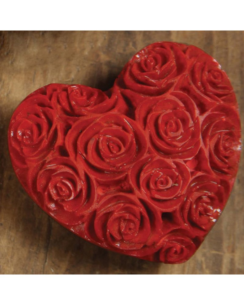HomArt Small Red Soapstone Carved Rose Heart - Set of 2