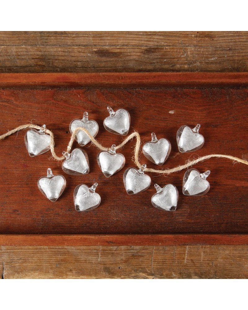 HomArt Glass Wedding Heart with Loop in Silver