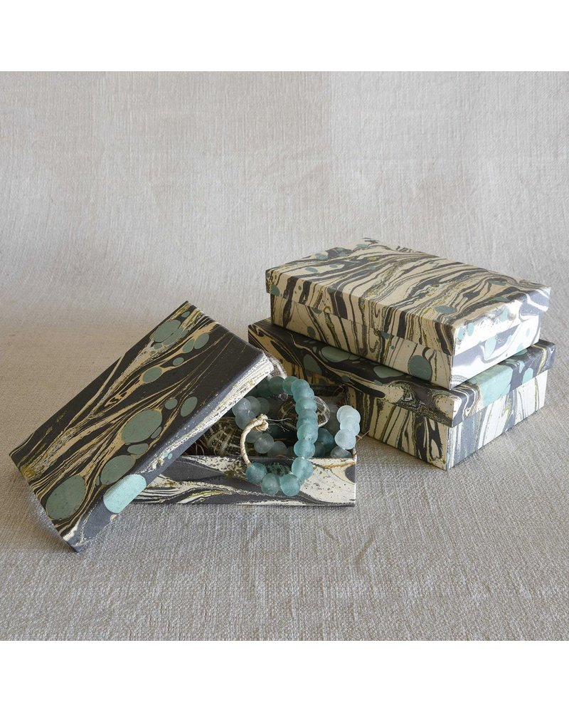 HomArt Marbleized Paper Nesting Boxes - Set of 3-Aqua