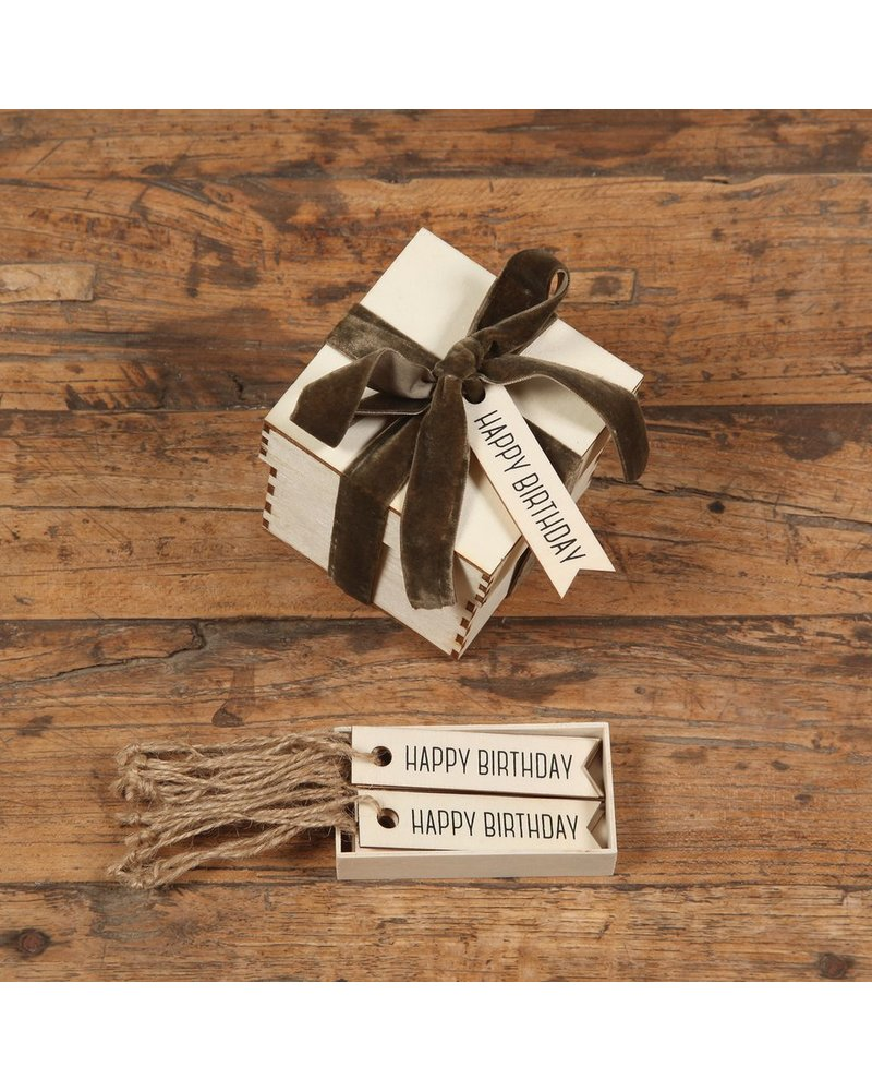 HomArt Happy Birthday Gift Wood Hangtag - Box of 12 - Set of 3 Boxes