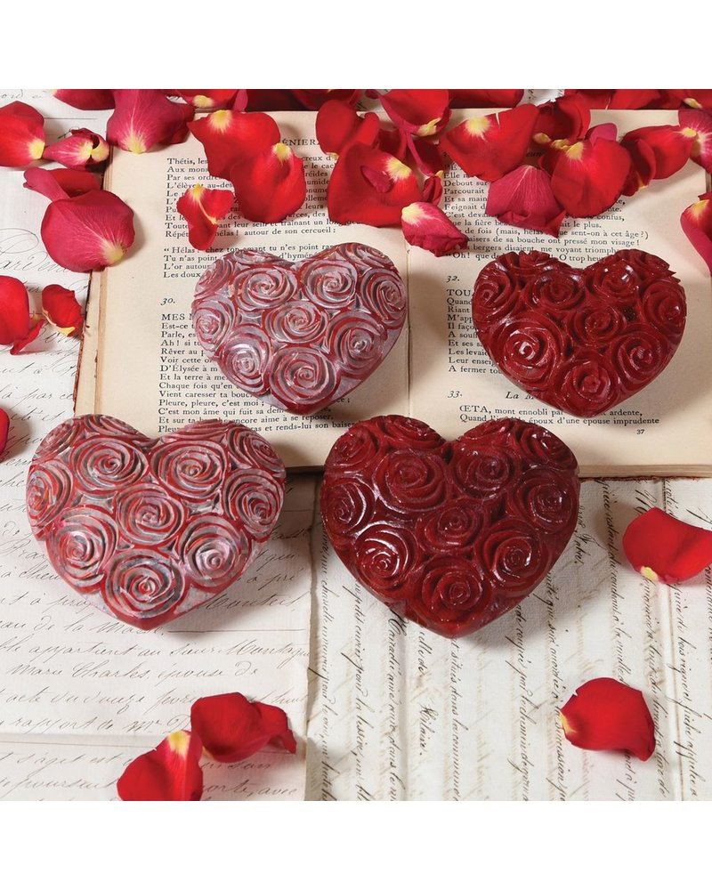 HomArt Lrg Red Soapstone Carved Rose Heart