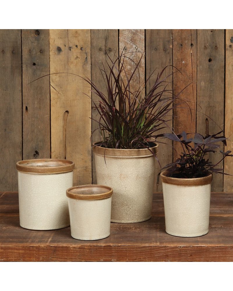HomArt Baxter Ceramic Cachepots - Med Antique White